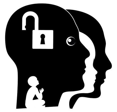psique: Desbloquear su niño interno. persona adulta en busca de sus recuerdos de la infancia Foto de archivo