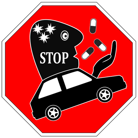 under the influence: Stop Drug Driving. Do not drive under the influence of medication like painkiller or illegal drug