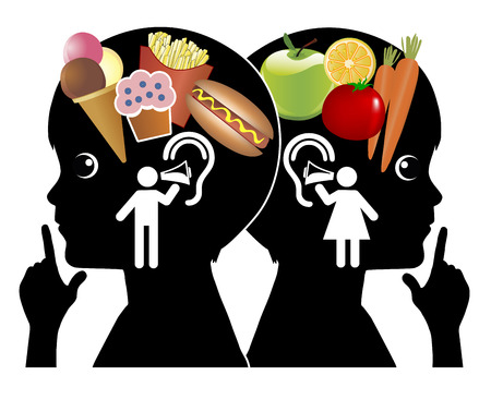 influence: Influence on Eating Behavior. Parents and commercial influence the foodhabits of children Stock Photo