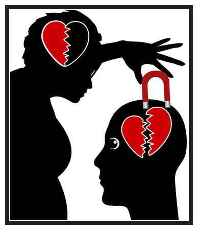 narcissist: Living with a narcissist. Concept illustration of emotional abuse in partnership