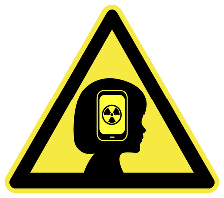 Warning Cell Phone Radiation. Kids facing health risks from the exposure to smartphones Stock Photo