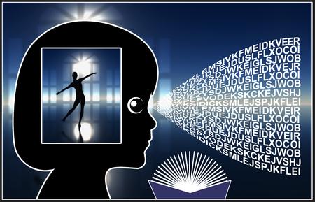 psicologia infantil: Fantasía Libros para los niños. La lectura de historias de fantasía estimula el desarrollo del cerebro en la educación infantil Foto de archivo