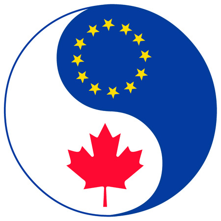 bilateral: CETA Trade Agreement icon. Concept sign for the Comprehensive Economic Agreement between Canada and the European Union