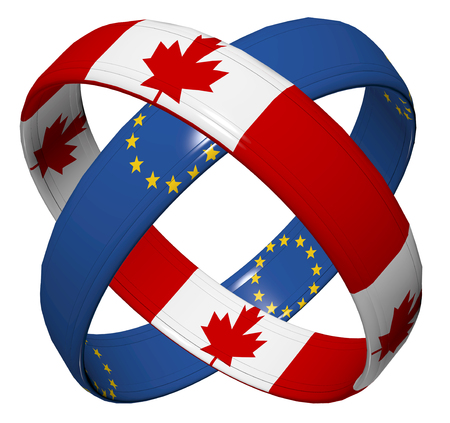 bilateral: CETA Trade Agreement. Symbol for the Comprehensive Economic Agreement between Canada and the European Union