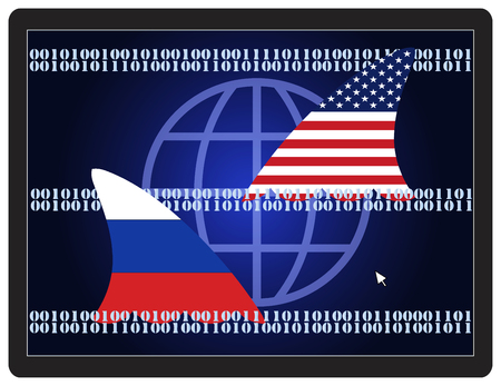 cyberwar: Cold War Espionage. USA and Russia spying on each other on the internet