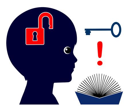 Aprendizaje auto-dirigido. Niño se convierte al pensador independiente mediante la enseñanza a sí mismo con los libros Foto de archivo - 68406261