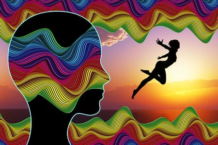 Autosugestión. Mujer que usa técnicas de autoayuda de imaginarse a sí misma para ser libre Foto de archivo - 68797562
