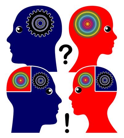 psique: El desarrollo de la inteligencia emocional. El hombre y la mujer aprenden a entender podían tú forma de pensar y la percepción
