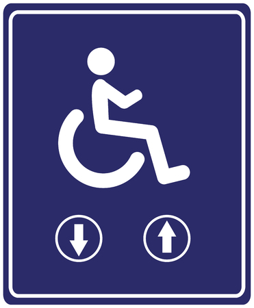 wheelchair users: Elevator for Wheelchair users. Sign for people with mobility problems to use escalator instead of stairs