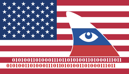 cyberwar: Russian Espionage against the USA. Russia spying on America through data piracy Stock Photo