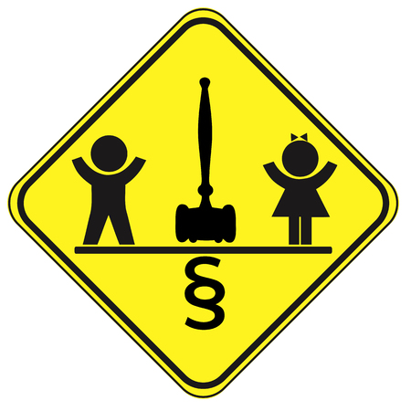 Boys and Girls with Equal Rights. Concept sign did all children must be Treated Equally Stock Photo