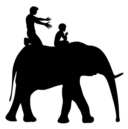pedagogy: Raise Strong Kids. Father is teaching child to ride an elephant, educational metaphor.