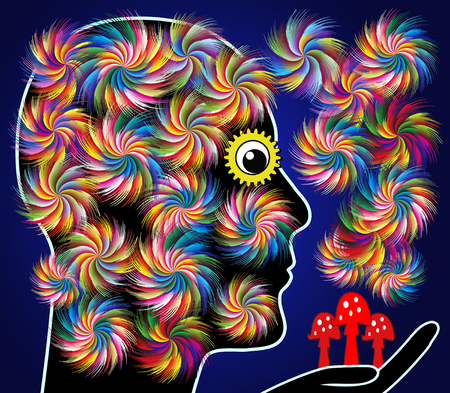 hallucinogen: Effects of Magic Mushrooms. Person falls into euphoria after consuming psychedelic mushrooms