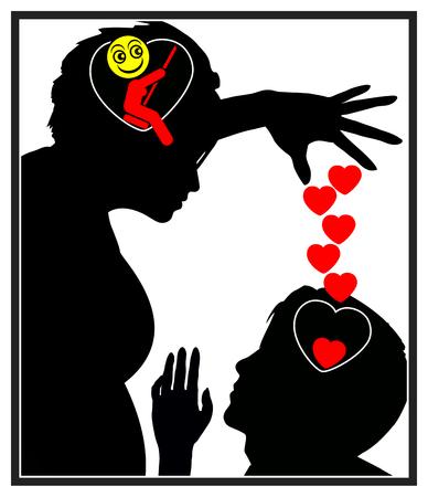lovemaking: Emotional manipulation. Manipulative woman exploiting emotions of a love sick man through mental distortion