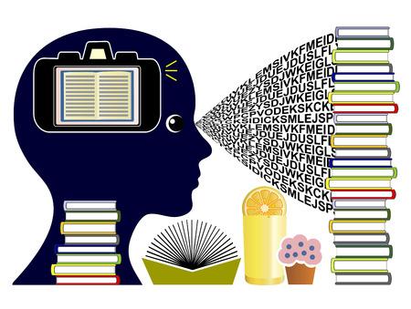 Fotografisch geheugen Concept. Student met de mogelijkheid om mentale kiekjes uit bookpages maken zoals een camera en oproepen visuele informatie synthese later