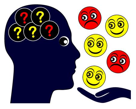 psique: El autismo y las emociones. persona autista con problemas para leer los sentimientos emocionales y empatía