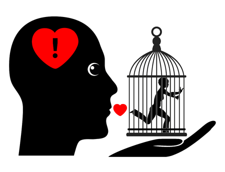 possessive: Possessive Husband. Humorous concept sign of wife living in a gilded cage controlled by dominant spouse