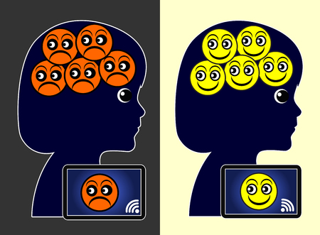 Social Networks and Wellbeing. Social media affect the mental health of children Reklamní fotografie