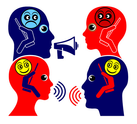 eachother: Communication Training. Two people learn to respecting eachother instead of shouting at one other Stock Photo