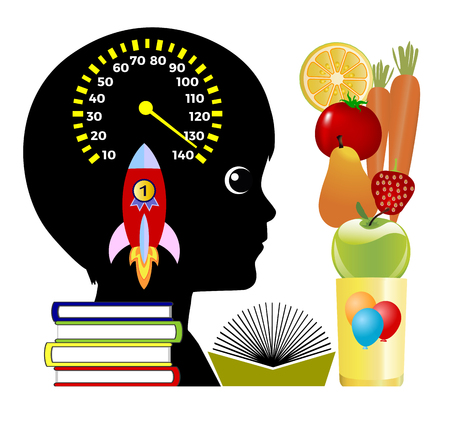 natural energy: Brain Boosting smoothies. Natural Energy Drink with Fruits and Vegetables to improve the academic performance of young students Stock Photo