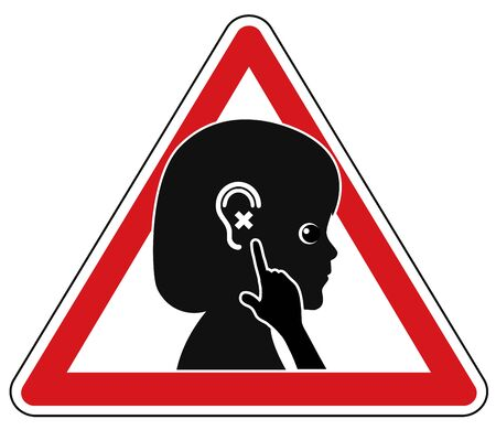 impaired: Hearing Tests for Children. Concept sign to identify hearing problems in early childhood Stock Photo