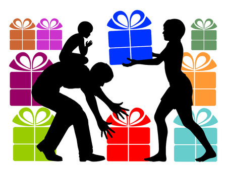 Gift Overload. Parents who over-gift Their child with holiday presents Stock Photo