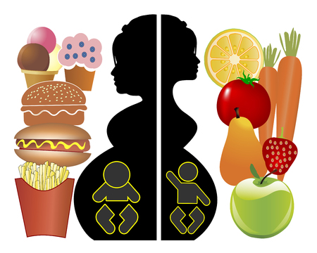 Eating Habits and Pregnancy. Healthy diet and junk food Affects the unborn baby and the mother expecting Stock Photo