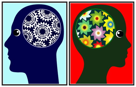 Ver el mundo de manera diferente. Los cerebros de hombres y mujeres trabajan de diferentes maneras Foto de archivo - 76271173