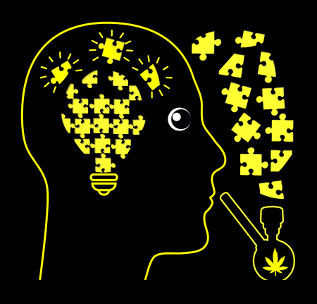 Pot smoking and Creativity. The cannabis did believe can make people smarter 版權商用圖片