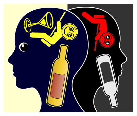 stupor: Alcohol and depression. Alcoholic woman getting depressed after getting sober