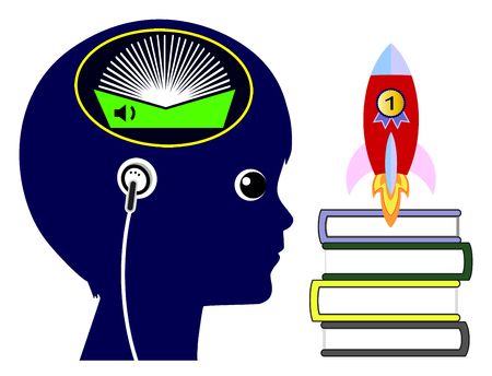boosting: Audio Books for Kids. Listening to audio books to boost academic performance Stock Photo