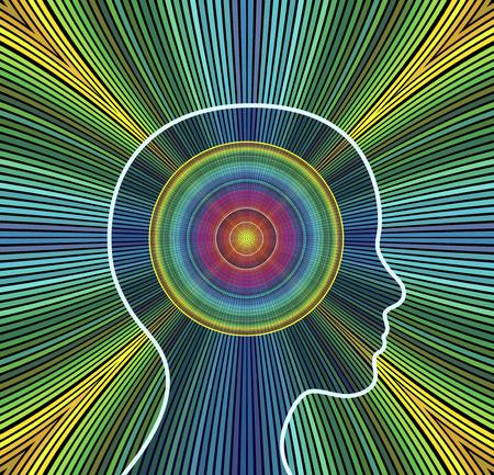 Vonk je energie. Conceptenillustratie van een vrouw die haar creativiteit opvoert