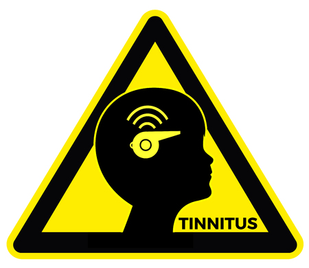 아이들의 이명. 귀에 울리는 소리와 윙윙 거리는 소리를 겪고있는 어린이의 개념 표시
