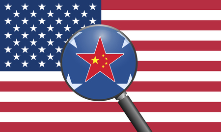 dependencies: US China Relations. Concept sign for the strong ties and dependencies between America and China