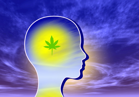 Mind expanding marijuana. Woman taking cannabis to expand the consciousness