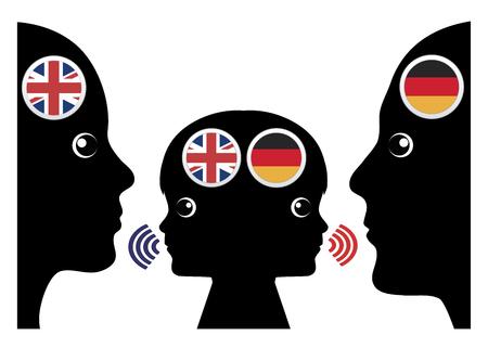 Lever un enfant bilingue. Kid apprend deux langues à la fois, l'anglais de sa mère Banque d'images - 81408700