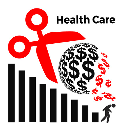 Cuts in Healthcare Spending. Concept sign for the proposed health care program in USA and elsewhere