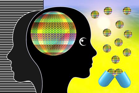 Effect van psychoactieve medicijnen. Vrouw die psychotrope stoffen gebruikt voor recreatieve of medische doeleinden
