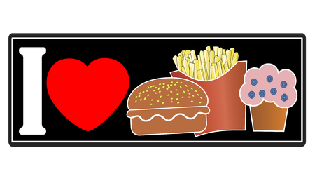 I love Junk Food. Concept sign for the preference of unhealthy eating habits Stock fotó