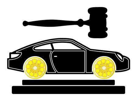 Lemon Car Court Case. Concept sign for lawsuits