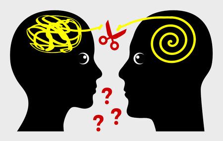 Falta de comunicación en el matrimonio. Comunicación entre marido y mujer, entre el emisor y el receptor del mensaje Foto de archivo