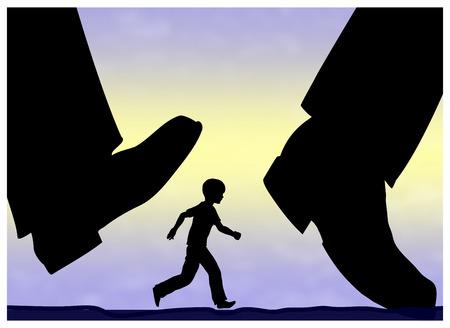 Enfant en liberté dans un monde dangereux. Concept éducatif des enfants avec peu de surveillance parentale