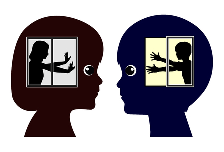 introversion: Introverted and Extroverted Kids. Boy and girl with different traits by birth