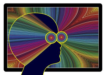 コンピュータ ビジョン症候群。あまりにも多くのスクリーンの時間 写真素材