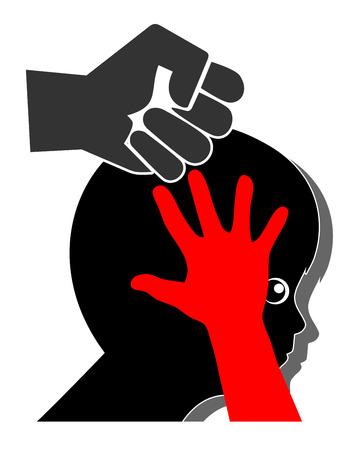 Violence contre les enfants. Signe de concept pour le châtiment corporel et la fessée causant la douleur