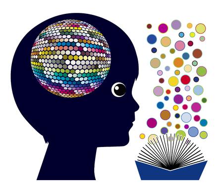 Lezen beïnvloedt de hersenen. Cognitieve stimulatie en hersenontwikkeling voor kinderen in het voorschools onderwijs Stockfoto - 86516907