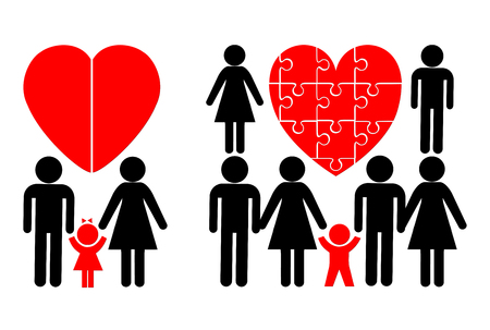 Nuclear Family and Blended Family. Child in a traditional family and a modern stepfamily