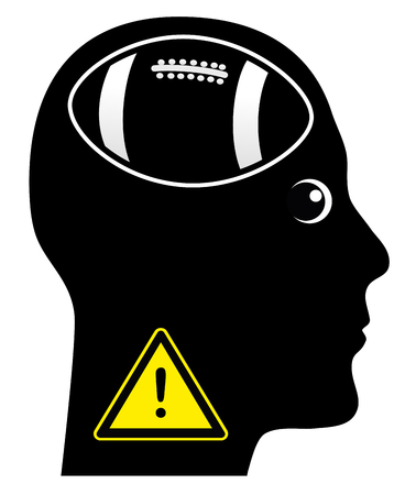 Warning Football Addict. Be aware of a person who is totally addicted to football games Stock Photo