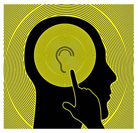 Hoorzitting test teken. Medische controle om gehoorproblemen te evalueren en te identificeren