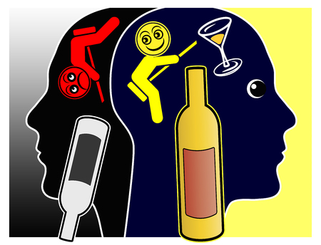 Alcohol affects the mood. Alcoholic drinks may cause pleasant feelings or depressions